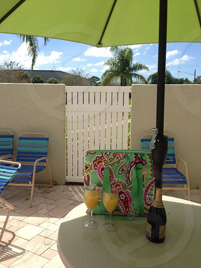 Mimosas by pool with Vera Bradley Tootie Fruitie cooler bag photo
