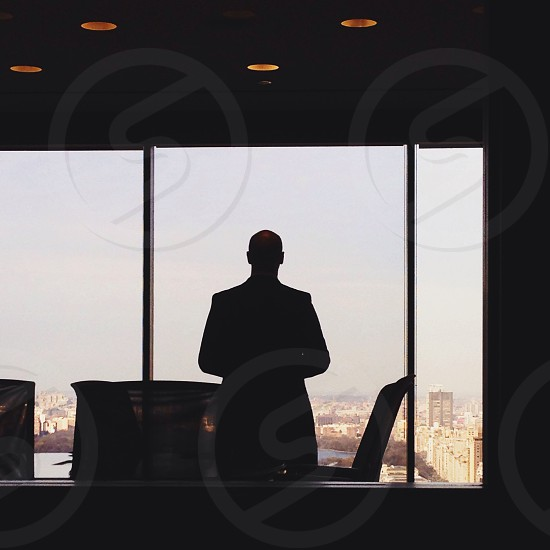 man on office silhouette photo