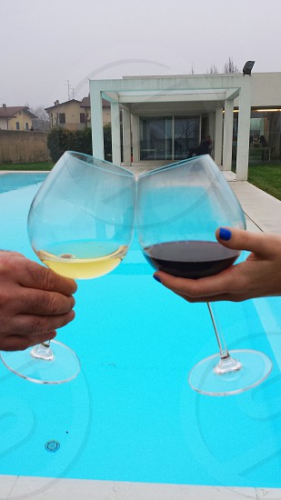 two persons holding wine glass near the swimming pool photo
