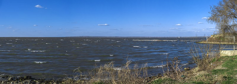 Panoramic view of the Dniester estuary near the Akkerman Fortress in Ukraine photo