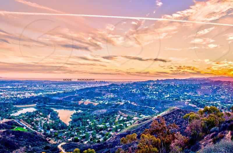 Lake Hollywood from above. Orange purple sunset. photo