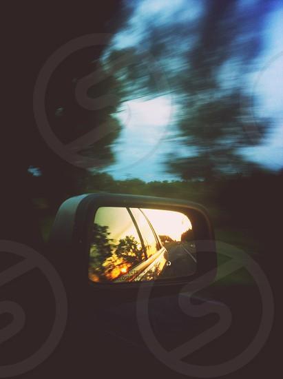 black car side mirror macro photography photo