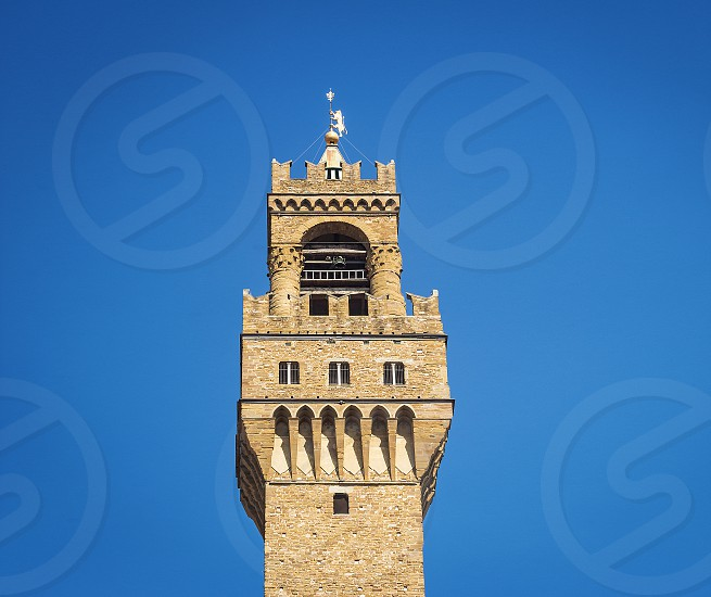 Detail of the bell tower of Palazzo Vecchio in Florence with the large windvane shaped like a heraldic lion holding the pole surmounted by the Florentine lily photo