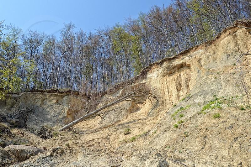 chalk cliff rock erosion on Rugen Isle (Germany). photo