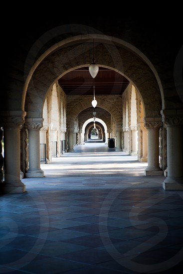 The halls of Stanford University in Stanford CA photo