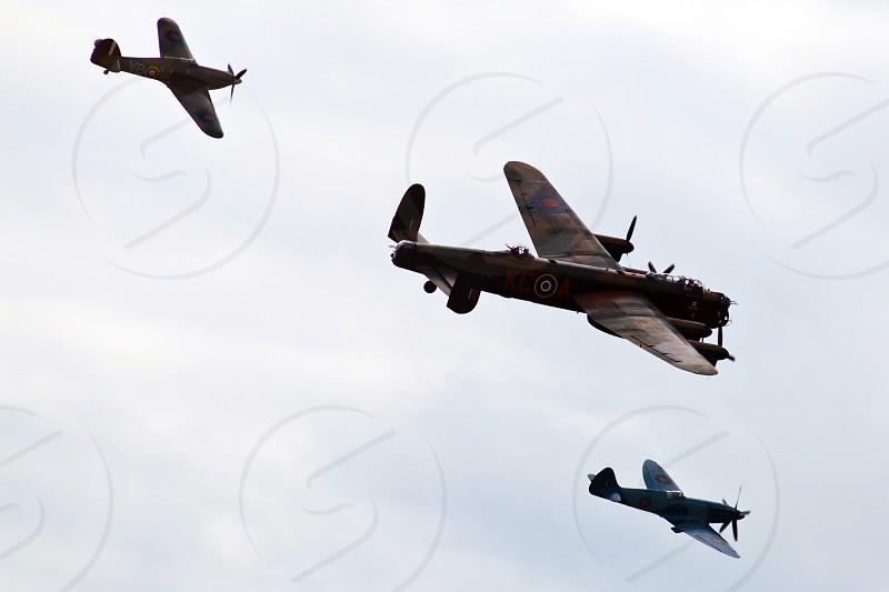 British World War 2 Planes. Lancaster Bomber. Hurricane. Spitfire photo