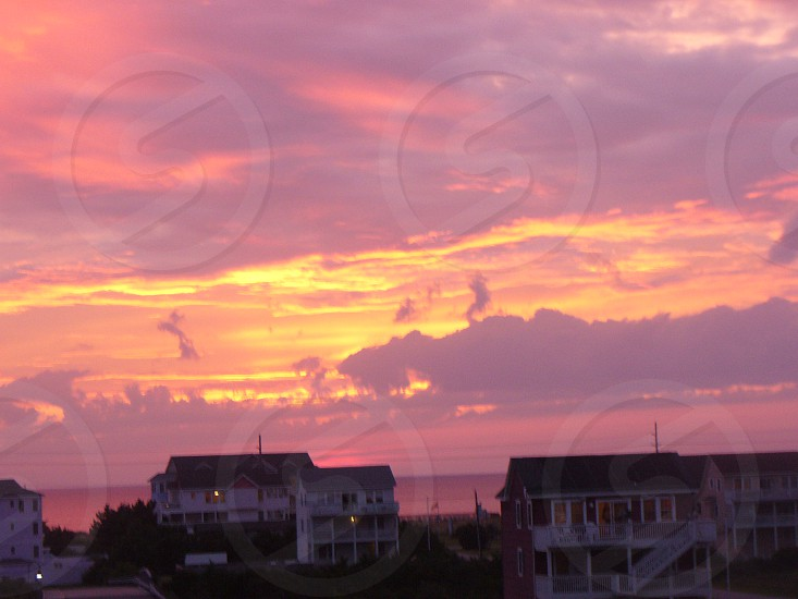 Sunset beach pink photo