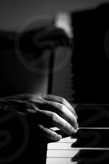 Hands on a Piano (Black & White) photo