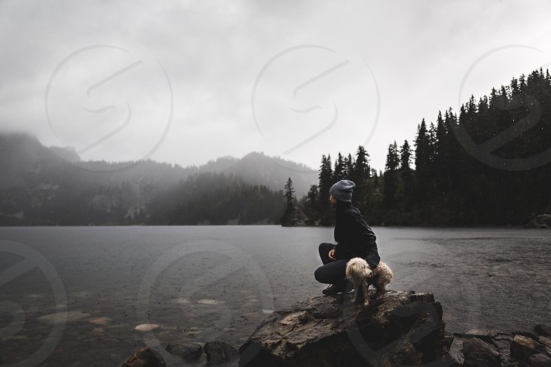 Hike Nature Snow Lake Washington Snoqualmie Lake  Nature Landscape Pet Dog photo