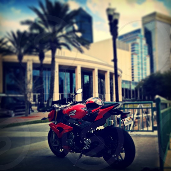 bmw motorcycle downtown photo