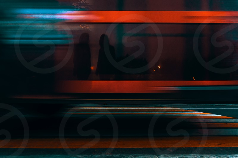 The pace of the city. motion speed blur road transport abstraction silhouette crosswalk multicolor evening street lights photo