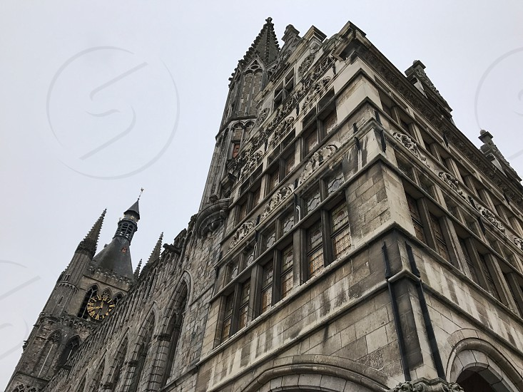 Outdoor day colour vertical portrait Ypres Ypres Salient Belgium Cloth Hall Museum WWI WW1 World War One First World War Somme Architecture gothic stone stonework masonry carved sculpture Europe European travel tourism tourist photo