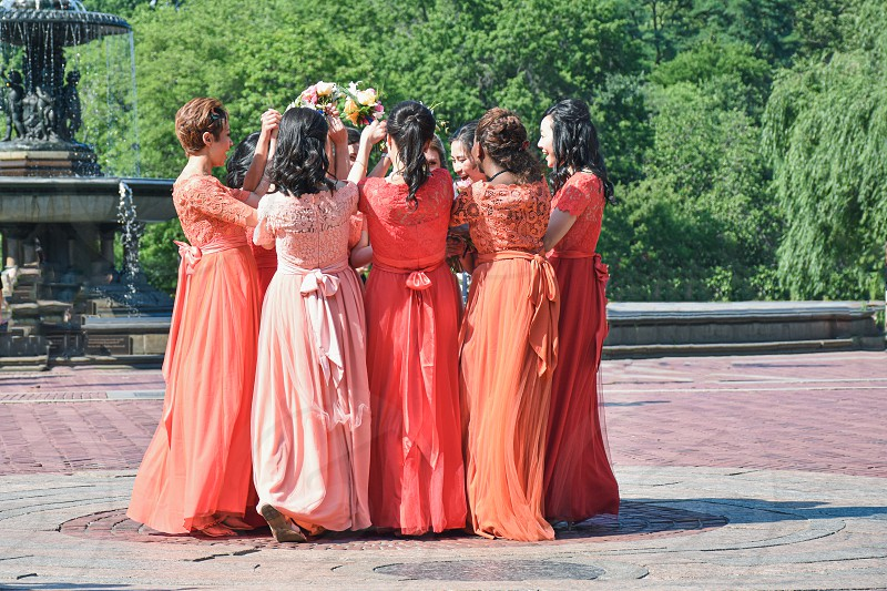 Bridesmaids celebrating friend's wedding photo