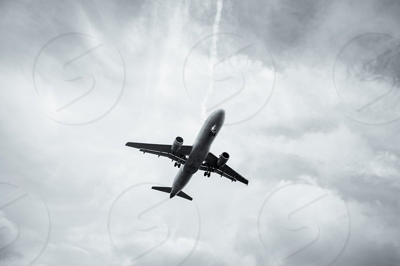 aircraft approach during sundown photo