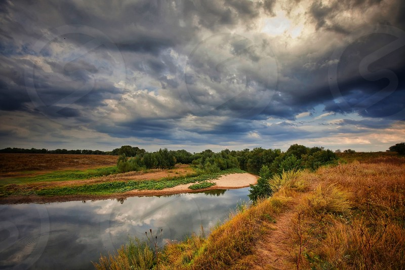 Landscape travel sky nature sunset sunrise morning early night evening autumn clouds light sunshine wheat rye field countryside rural Russia  thunder  road river photo
