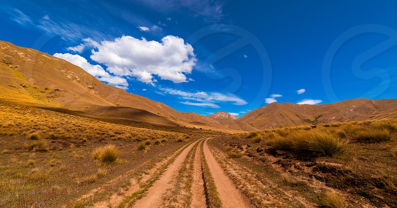 Gravel road in Lindis Valley area photo