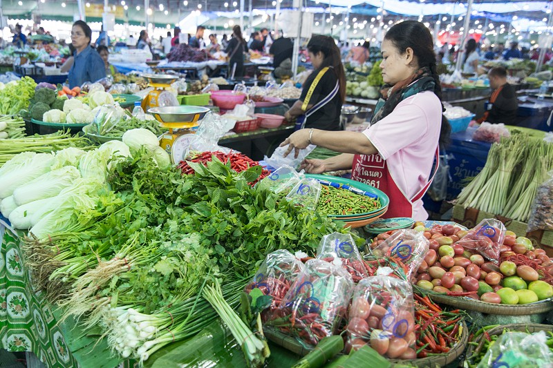 vegetable at the marketstreet at the food market in of the city Buri Ram in Isan in Northeast thailand.  Thailand Buriram November 2017 photo
