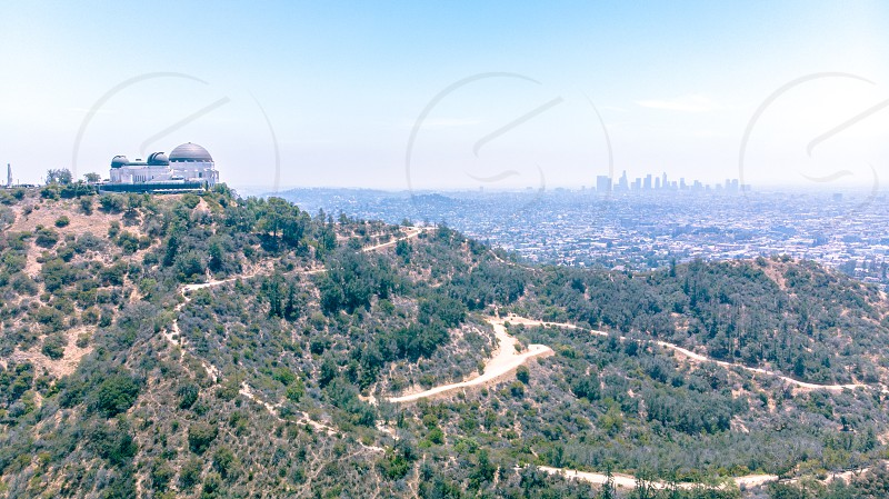 Griffith Park Observatory and downtown Los Angeles photo