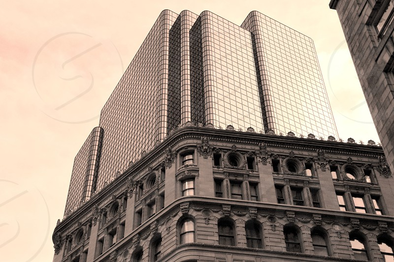 city boston old new sepia skyscraper photo