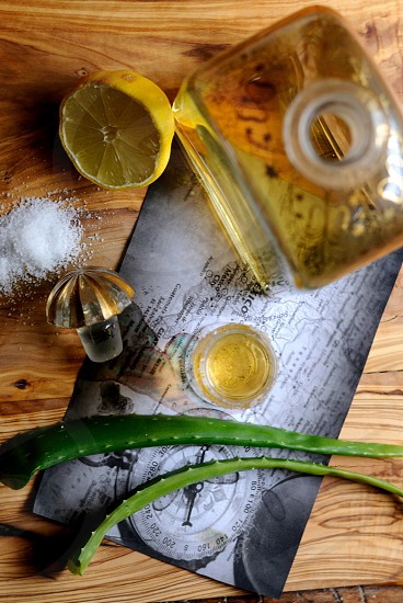 green plant on gray paper beside tequila salt and lime photo