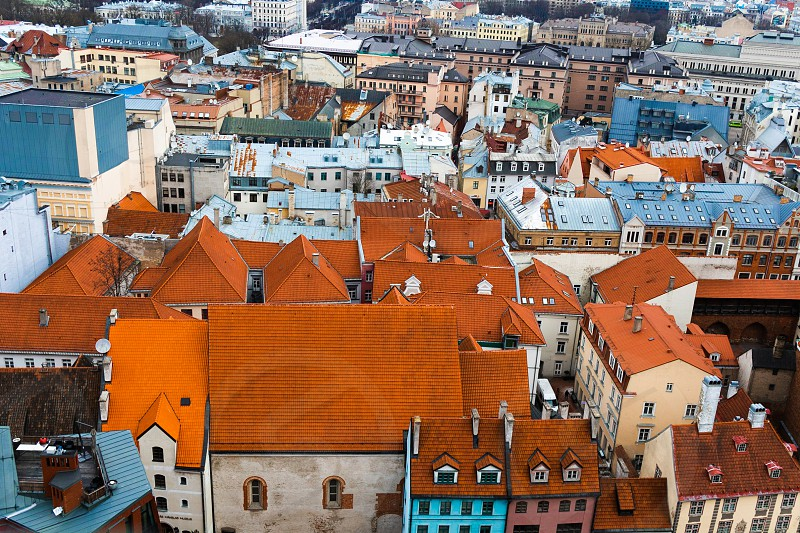 Rooftops of old Riga from a high vantage point photo