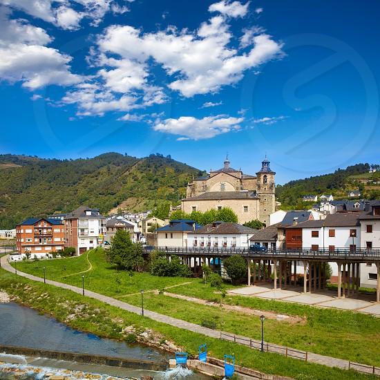 Villafranca del Bierzo by Way of Saint James Burbia river in Leon Spain photo