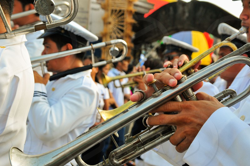 A trumpeter during a festival photo