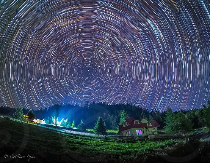 star trailsnightscapenight skypolar starsummer nightmeteor shower photo
