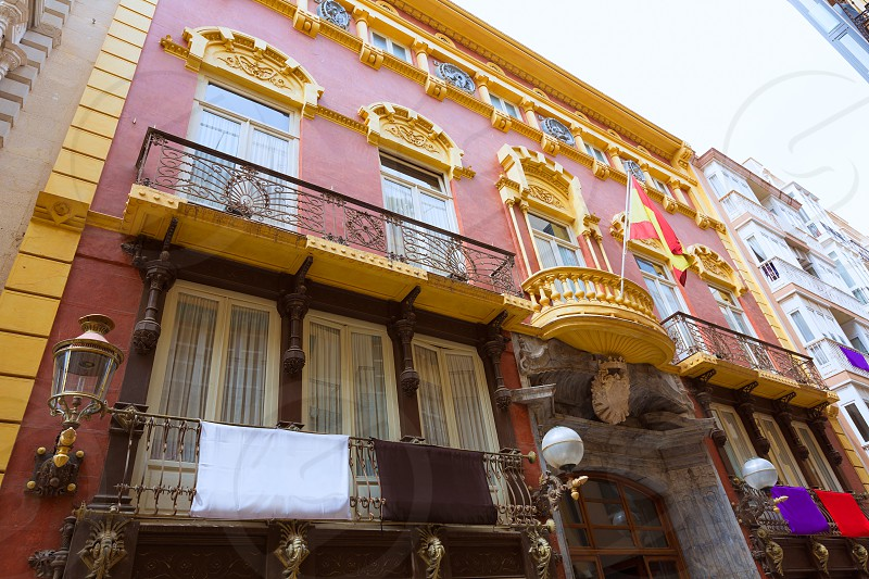 Cartagena Casino Modernist architecture and Casatilly palace at Murcia Spain photo