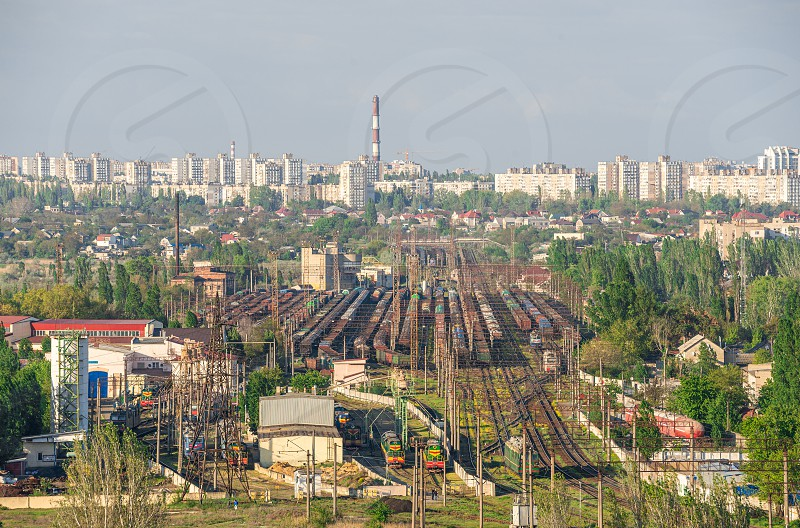 Top view of the industrial zone of Odessa Ukraine in the area of Peresyp and the Kotovsky district on a sunny summer day photo