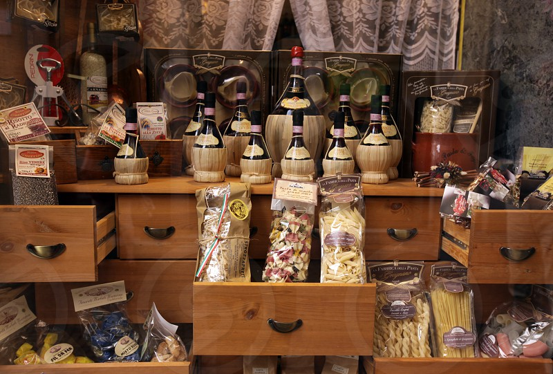 a Pasta and wine Shop in teh old town of Pallanza near to Verbania on the Lago maggiore in the Lombardia  in north Italy.  photo
