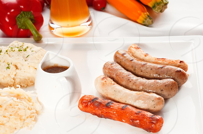selection of all main type of german wurstel saussages frankfurterwienerbratwurstFränkischeCoburgerKulmbacherNürnbergerWürzburgerThüringe MORE DELICIOUS FOOD ON PORTFOLIO photo