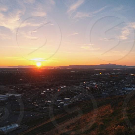 city and sunset photo