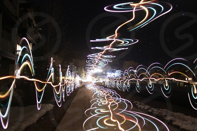 Crazy light drawing with old Christmas lights on a paint roller and color gels. The setting were f3.5 30sec ISO1600 18mm. photo