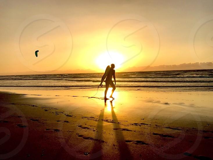 ocean Serf passion nature. Summer. Spain. fuerteventura sunset.  photo