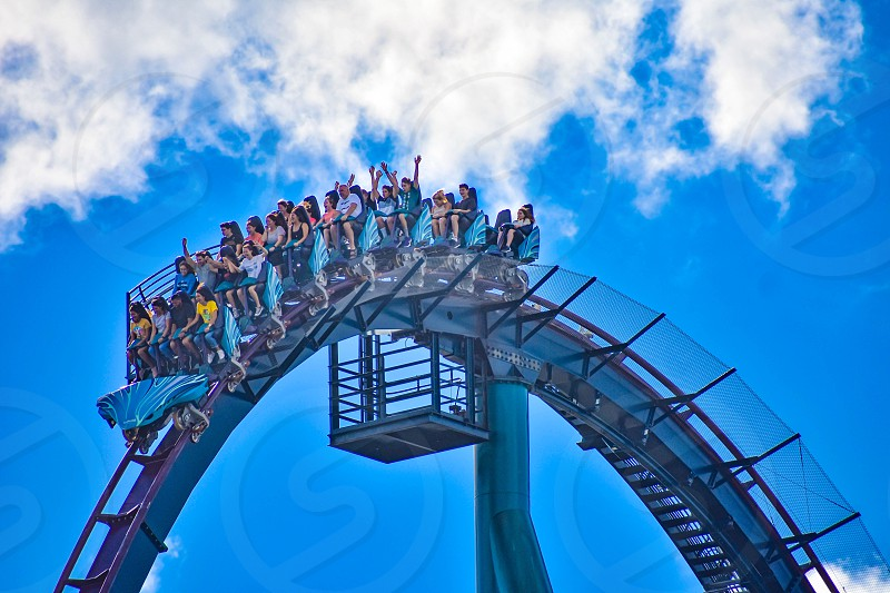Orlando Florida. December 26 2018. This roller coaster is known for high speeds deep dives and thrills around every turn at Seaworld in International Drive area (13) photo