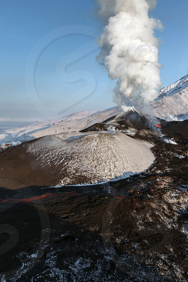 Beautiful nature of Kamchatka: eruption Tolbachik Volcano (view from helicopter). Eurasia Russia Far East Kamchatka Peninsula. photo