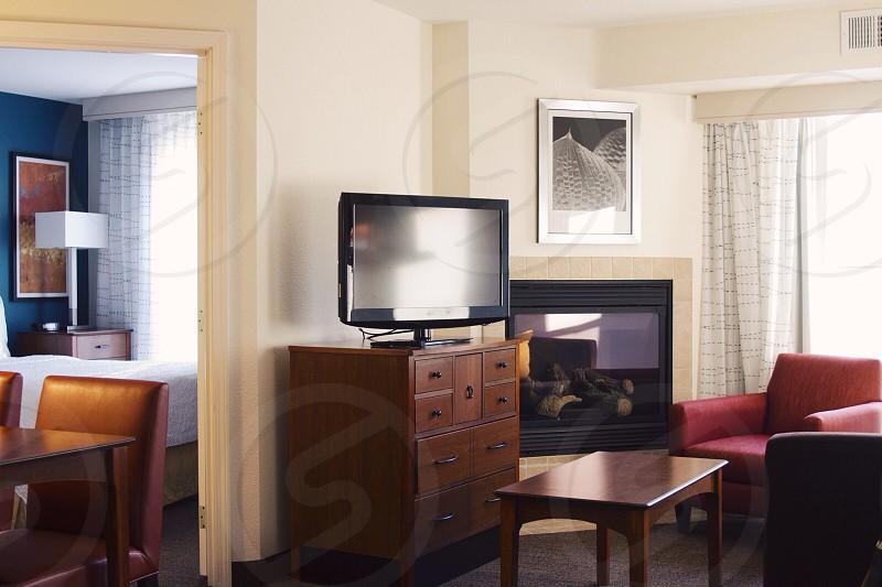 black flat screen television photo