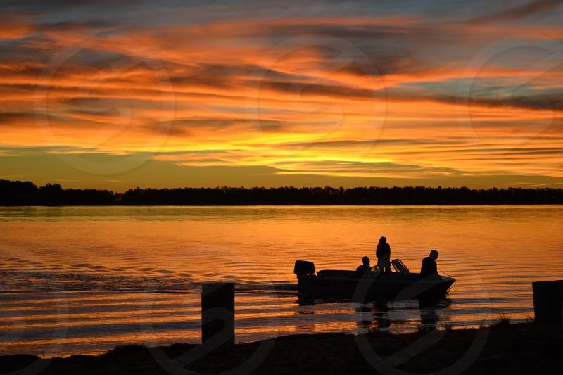 sunset lake boat  photo