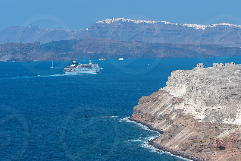 View of Akrotiri lighthouse - Santorini Cyclades island - Aegean sea - Greece photo