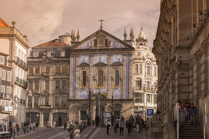 the igreja dos Congregados in the old town of  ribeira in the city centre of Porto in Porugal in Europe. photo