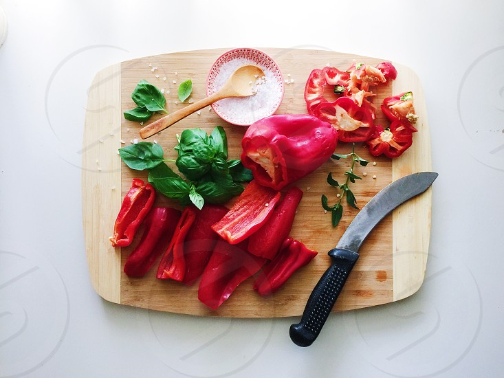 Food kitchen cooking vegetables utensils chopping board photo