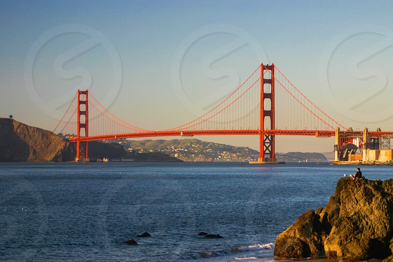 Golden Gate bridge at sunset. photo
