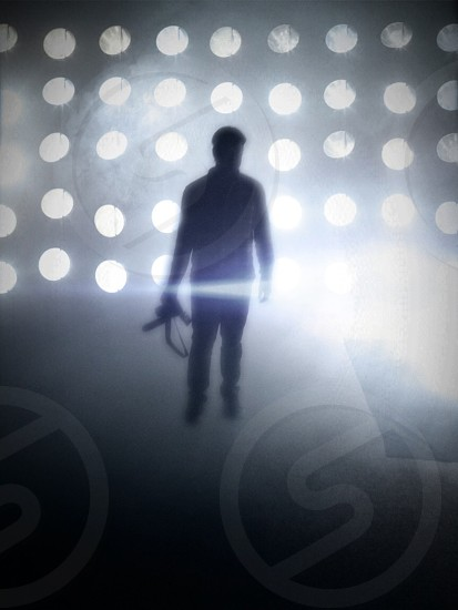 man standing holding camera silhouette photo