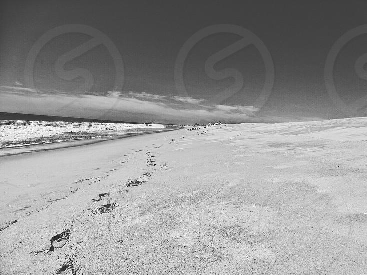 footprints on beach in greyscale photo photo