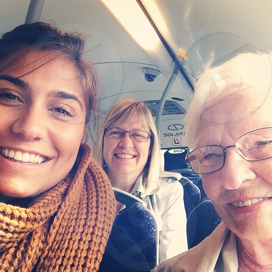 Three generations of Eriksson women on the bus heading to do some shopping.  photo