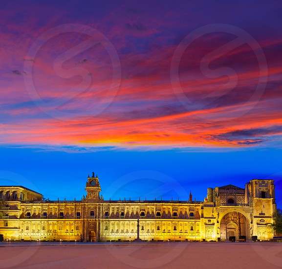 San Marcos in Leon sunset at the way of Saint James Castilla Spain photo