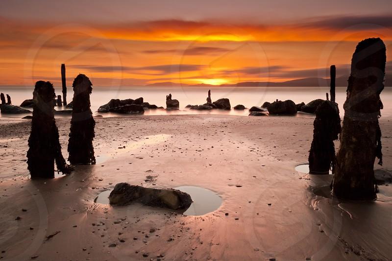 4 brown rock post on brown sandy beach photo