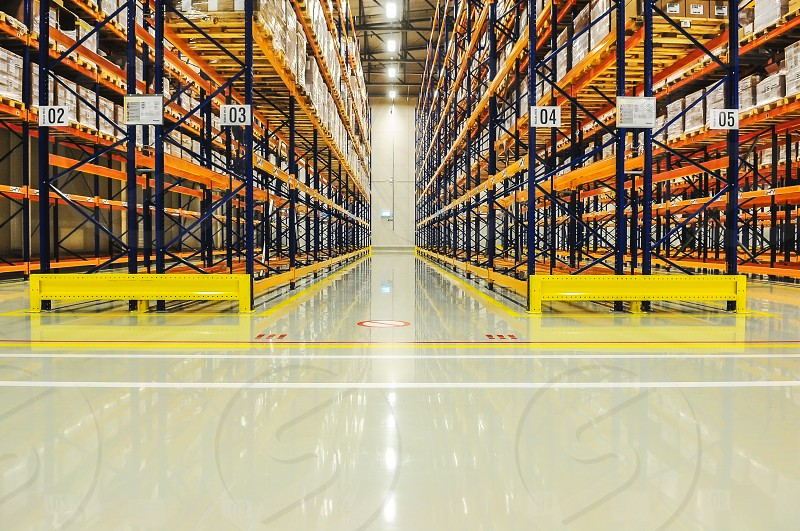 Warehouse racking in large industrial storage copyspace industrial manufacturing and logistics concept photo