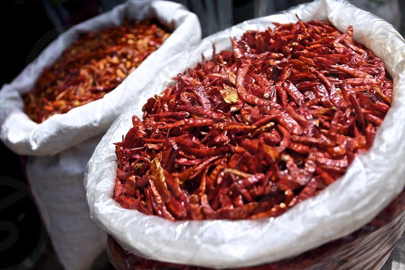Bags of chillies at the Monday Market in Saladan Ko Lanta photo